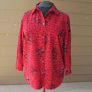 Sag Harbor red floral print blouse